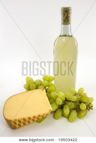 White wine, cheese and grapes.
