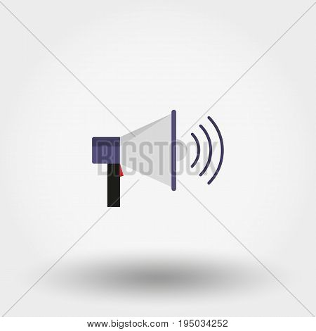 Megaphone. Icon for web and mobile application. Vector illustration on a white background. Flat design style.