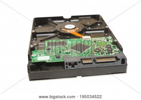 35 inch desktop sata hard drive isolated on white background
