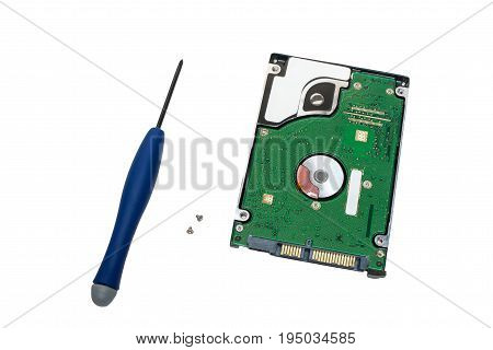 2.5 inch laptop sata hard drive is broken with screwdriver and screws isolated on white background
