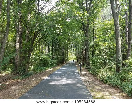 asphalt trail in the woods with sign and jogger