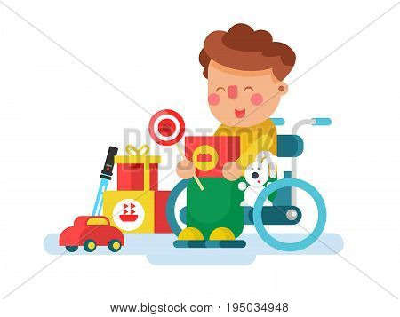 Boy in a wheel chair with toys. Child boy happy, childhood, playing. Flat vector illustration