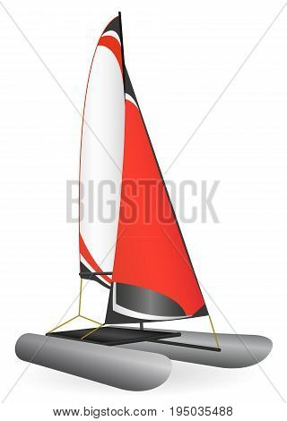 Vector illustration of a red inflatable sailing catamaran.