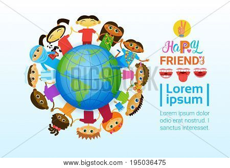 Happy Friendship Day Greeting Card Mix Race Kids Over Earth Globe Friends Multi Ethnic Holiday Banner Vector Illustration