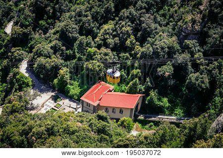 Cable car station at Santa Maria de Montserrat abbey in Spain
