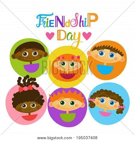 Happy Friendship Day Greeting Card Mix Race Kids Friends Multi Ethnic Holiday Banner Vector Illustration
