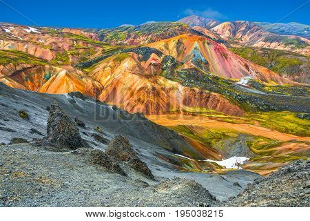 Beautiful colorful volcanic mountains Landmannalaugar in Iceland summer time