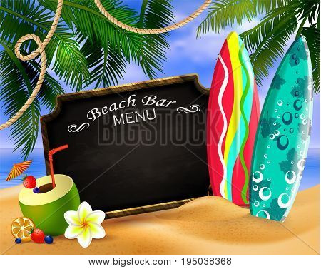 tropical vector background with leaves of palm trees summer sky and clouds wooden frame and chalk board for beach bar or restaurant menu coconut and surfing boards on a sand beach.
