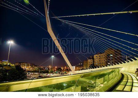 Jerusalem bridge Suspension bridge in Jerusalem in the evening