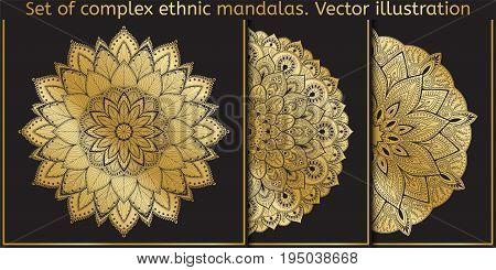Vector design element. Template for creating logo, icon, symbol, emblem, monogram frame. mandala set. Illustration gold pattern on black background. Concept unusual abstract luxury decor.