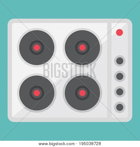 electric hot plate flat icon, electrical stove and appliance, vector graphics, a colorful solid pattern on a white background, eps 10.