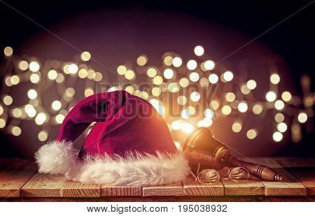 santa claus cap glasses and blurred lights