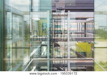 Abstract window reflections in morden office building. Contemporary corporate business architecture.