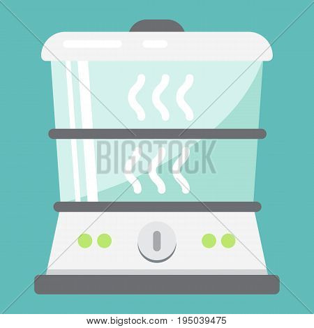 Food Steamer flat icon, kitchen and appliance, vector graphics, a colorful solid pattern on a white background, eps 10.