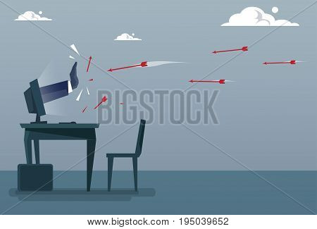 Businessman Hand From Computer Monitor Protecting From Arrow, Business Data Protection Concept Flat Vector Illustration