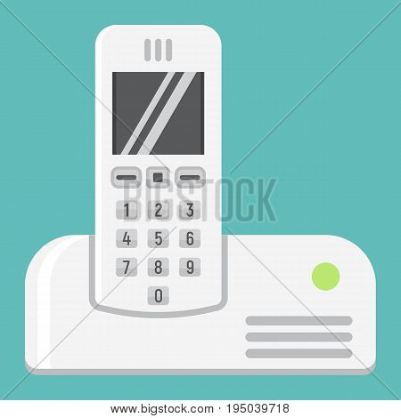 Wireless telephone flat icon, household and appliance, vector graphics, a colorful solid pattern on a white background, eps 10.