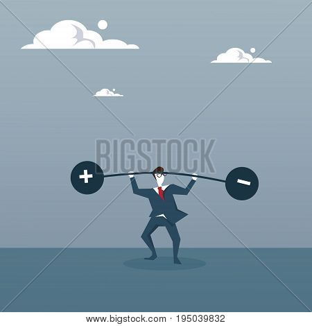 Business Man Holding Weights Balance Scales With Plus and Minus Sign Debt Loan Crisis Concept Flat Vector Illustration