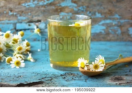 glass of herbal chamomile tea on a blue wooden table. Chamomile tea in a transparent cup and camomile flowers on wooden table. Herbal tea for baby's stomach. Copyspace.