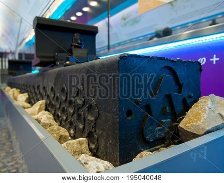 Modern railway sleepers made of plastic by recycling technology