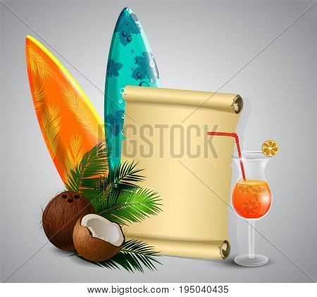 Coconut tropical nut fruit with cut vector illustration isolated with old grange paper roll with surfing boards and glass of beverage vector