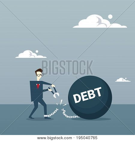 Business Man Cut Chain Bound Paid Credit Debt Finance Success Freedom Concept Flat Vector Illustration