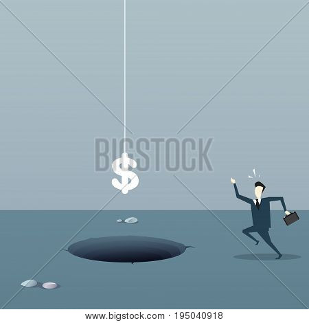 Scared Business Man With Dollar Sign Falling In Hole Credit Debt Finance Crisis Concept Flat Vector Illustration