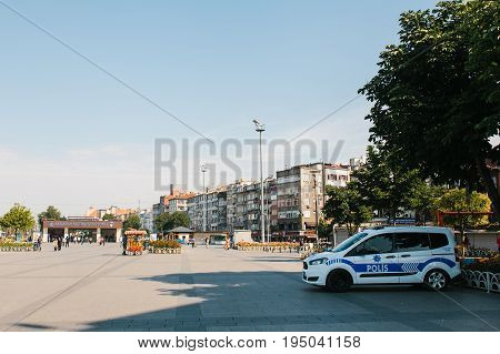 Istanbul, July 11, 2017: A police car on the street in the Aksaray area in Istanbul, Turkey. Protection of public order, protection of the population from crime.