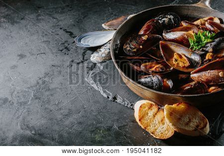 Shells of mussels in a frying pan in tomato sauce and croutons. Dark background. Lots of copy space