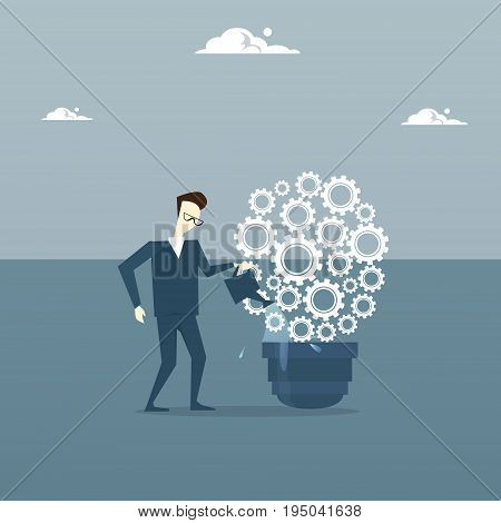 Business Man Watering Light Bulb Of Cog Wheels Brainstorming New Ideas Inspiration Concept Flat Vector Illustration