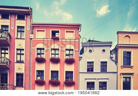 Facades Of Old Tenement Houses.