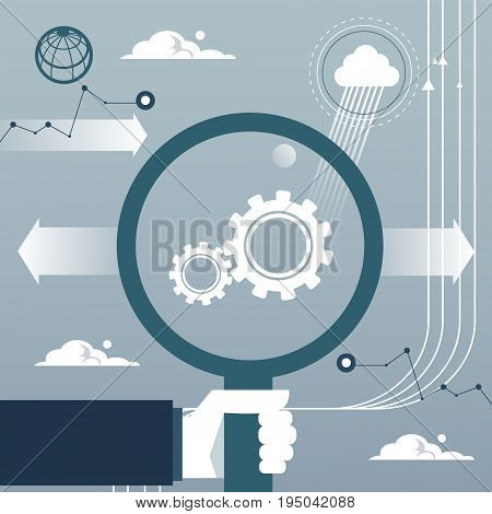 Business Man Hand Hold Magnifying Glass Cog Wheel Brainstorm Concept Flat Vector Illustration