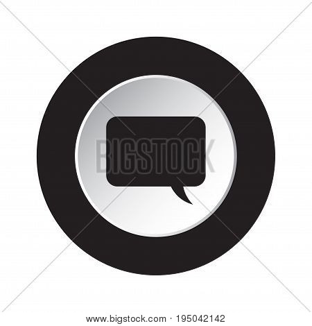 round isolated black and white button - black speech bubble icon
