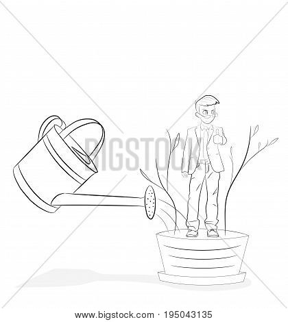 Line flat design vector illustration of hand watering man in flowerpot, concept for coaching, personal development, professional growth, human resources management isolated on white background