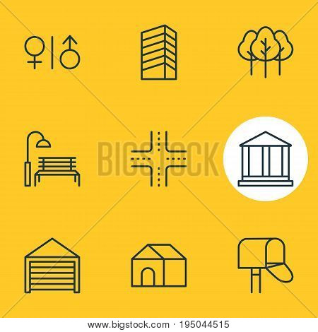 Vector Illustration Of 9  Icons. Editable Pack Of Toilet, Skyscraper, Bench And Other Elements.