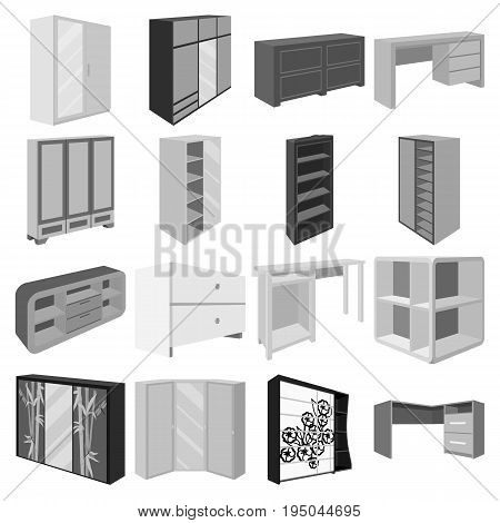 Wardrobe, mirror, wood and other icons of interior. Interior set collection icons in monochrome style vector symbol stock illustration.