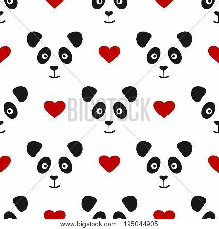 Repeated panda face and heart. Seamless pattern for children. Cute smiling animal. Vector illustration.
