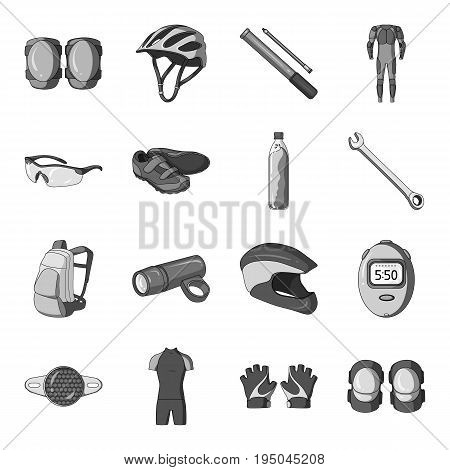 Gloves, suit, helmet, sneakers and other equipment. Cyclist outfit set collection icons in monochrome style vector symbol stock illustration .