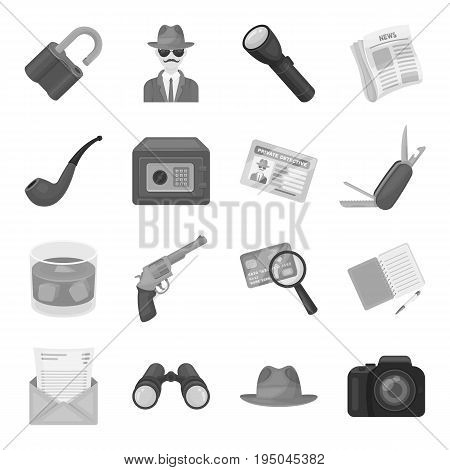 Pistol, tube, identification, magnifier and other attributes. Detective set collection icons in monochrome style vector symbol stock illustration .
