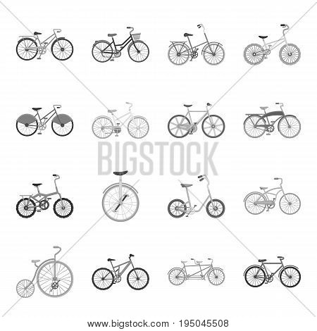 Different models of bicycles. Different bicycle set collection icons in monochrome style vector symbol stock illustration .