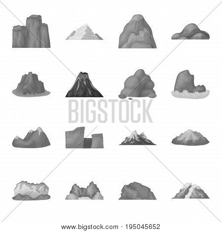 Rock, peak, volcano, and other kinds of mountains. Different mountains set collection icons in monochrome style vector symbol stock illustration .