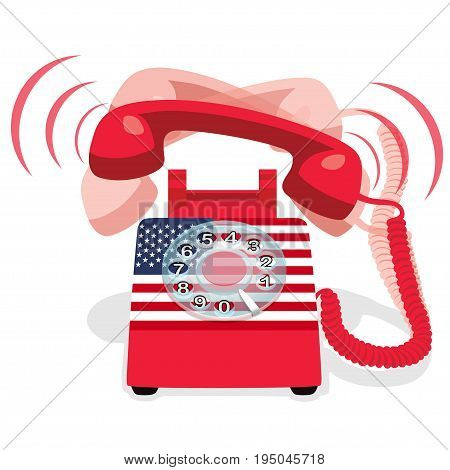 Ringing red stationary phone with rotary dial and flag of USA. Vector illustration.