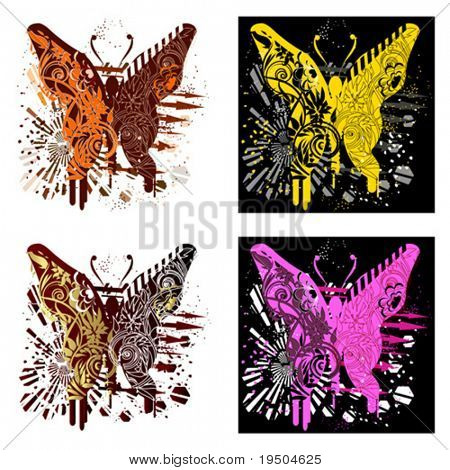 T-shirt butterfly_Tekhno-ouro glamur-emo-clássico do design