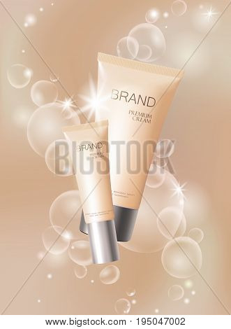 Moisturizing effect cosmetic tone ad template. Oil bubble drop 3d delicate soft realistic vector illustration. Promoting banner beige marketing background art