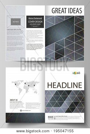 Business templates for bi fold brochure, magazine, flyer, booklet or annual report. Cover design template, easy editable vector, abstract flat layout in A4 size. Colorful dark background with abstract lines. Bright color chaotic, random, messy curves. Col