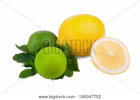 A close-up composition of ripe and bright yellow lemons and two bright green lime and fresh mint isolated on a white background. Citrus fruit. Fresh lemons, a slice of lemon and two lime with mint.