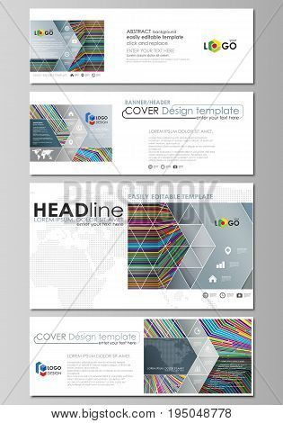 Social media and email headers set, modern banners. Business templates. Easy editable abstract design template, vector layouts in popular sizes. Bright color lines, colorful style with geometric shapes forming beautiful minimalist background.