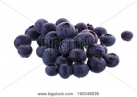 Many Juicy And Fresh Blueberries Isolated On White Background. Blueberries Close-up. Blueberry Antio