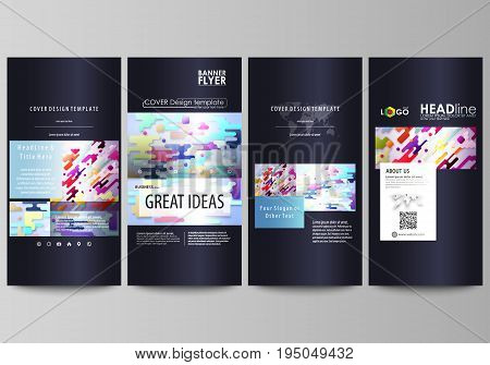 Flyers set, modern banners. Business templates. Cover design template, easy editable abstract vector layouts. Bright color lines and dots, colorful minimalist backdrop with geometric shapes forming beautiful minimalistic background.