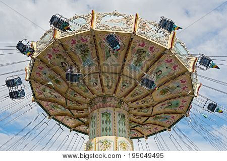 A colorful carousel in the amusement park