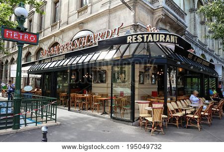 Paris, France-JULY 07, 2017 : The famous French cafe Sarah Bernardt named after the famed Parisian actress and singer, located at place du Chatelet in Paris.